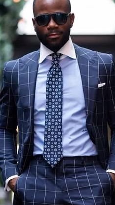 Windowpane suit with white collar blue shirt!
