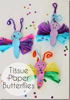 Tissue Paper Butterfly Craft #craftsforkids #Preschool
