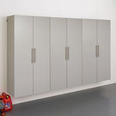 "Prepac HangUps E 108"" Storage Cabinet 3-piece Set | Kohls Storage Shed Organization, Garage Storage Systems, Locker Storage, Workshop Organization, Wall Storage, Large Storage Cabinets, Grey Laminate, Hanging Rail, Adjustable Shelving"