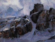 "Artist: Tibor Nagy - Title: The Mountain 13.5x17.5"" oil"