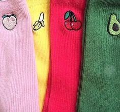 Socks: printed, colourful.
