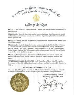 Nashville, TN - Mayoral proclamation recognizing Diaper Need Awareness Week (Sept. 26 - Oct. 2, 2016) #DiaperNeed www.diaperneed.org