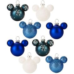 Disney Mickey Mouse Icon Ornament Set - Mini Winter wonder, Blue and White, Item No. 7509002520651P, $24.95, 2'' H