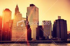 skyline of Manhattan at sunset Royalty Free Stock Photo