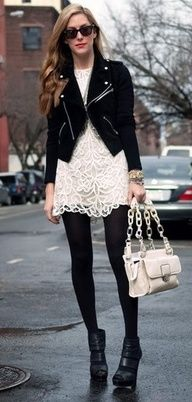 edgy: white lace and black moto jacket