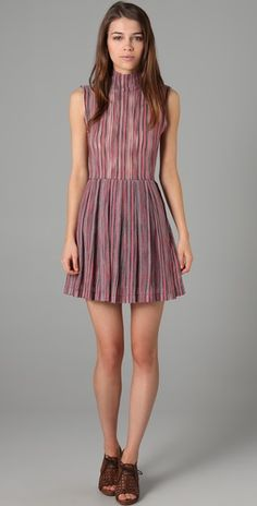 Opening Ceremony High Collar Pleated Dress $425