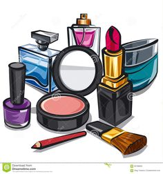 Makeup and perfumes stock illustration. Illustration of care - 60768659