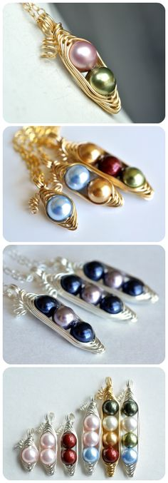 Custom pea pod necklace for moms, sisters, best friends and daughters... from muyinjewelry.com