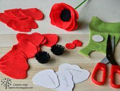 Sasha& World: MK Maki of felt - Crafty Ideas - Felt Diy, Handmade Felt, Handmade Flowers, Diy Flowers, Felt Crafts, Fabric Flowers, Paper Flowers, Felted Flowers, Crochet Flowers