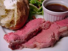 """I love Prime Rib, but haven't tried making it yet. Foolproof Standing Prime Rib Roast: """"I have used this recipe for the past several Christmas roasts as well as several other 'less expensive' cuts, and it turns out perfect EVERY time! Rib Recipes, Roast Recipes, Cooking Recipes, Yummy Recipes, Yummy Food, Game Recipes, Yummy Treats, Cooking Tips, Healthy Food"""