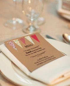Kraft paper with coloured bunting menu.different yellows/greys? Diy Wedding On A Budget, Wedding Menu, Decor Wedding, Wedding Stationery, Wedding Invitations, Party Planning, Wedding Planning, Something Old Something New, 100 Layer Cake