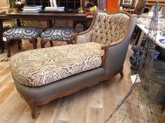 French Louis XV Chaise Lounge Chair in Zebra by FMFCompagnie