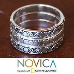 "Sterling Silver ""Together"" Band Rings (overstock.com)"