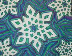 Paper snowflake, marker lines fill negative space Classroom Art Projects, School Art Projects, Art Classroom, January Art, February, Snowflakes Art, 8th Grade Art, Winter Art Projects, Art Lessons Elementary