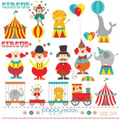 Circus trainclowns circus tent digital clip art set