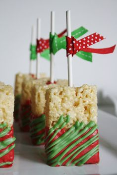 Christmas Rice Krispie treat pops