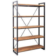 This metal and teak rack has five shelves. The sides are galvanized iron and the shelves are teak wood. Don't you love the design of this bookshelf?