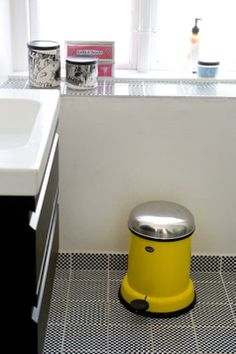 our bathroom.. Tiles by Made a Mano, trash can by Vipp.