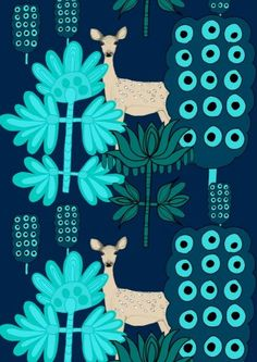 Marimekko / Illustratrice / Motif / Papier Peint / Bleu / Foncé / Clair