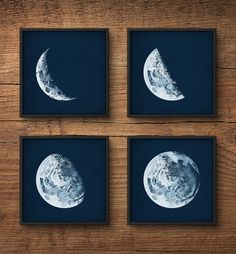 Moon phases Framed art set Moon phases posters Moon prints
