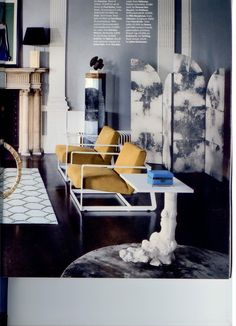 """jeffreyalanmarks: Loving this peak of a London ICA from Wallpaper. Check out the modern details of the """"Gaston"""" armchairs by Vincent Van Duysen for Poliform and the """"Rose"""" screen by Julian Chichester. Also 'digging' the nature effect of the """"Vine"""" table by Soane."""