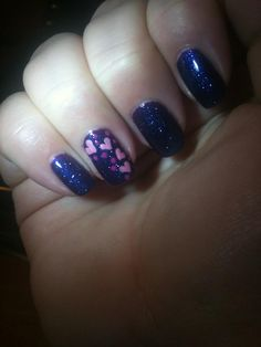 Purple Pink Heart nails