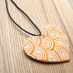 Unique Polymer Clay FIMO Pendant Orange Swirl by sweetpyroangel Handmade Jewelry, Handmade Items, Unique Jewelry, Handmade Gifts, Polymer Clay Pendant, Sister Gifts, Spring Collection, Jewelry Design, Designer Jewellery