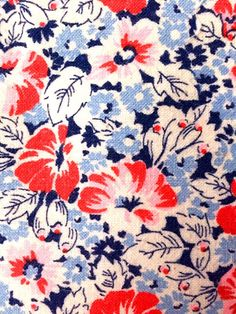 Vintage Feedsack Flour Sack Fabric 1930's 1940's 1950's Blue Red Navy Flowers Cotton Quilt Patchwork