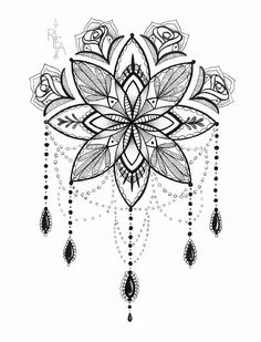 Mandala Illustration - Tattoo Art - Pen and Ink Drawing - 5x7 Giclee Print