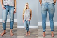 Denim Distressed Cropped Jeans