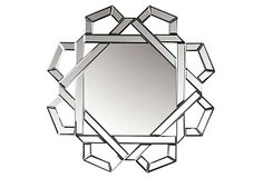 Wall mirror with open geometric frame. Product: Wall mirror Construction Material: Mirrored glass and wood Color: Silver Features: Will enhance any decor Dimensions: H x W Clock Decor, Wall Decor, Mirrored Furniture, Beautiful Mirrors, Home Upgrades, Vintage Room, White Rooms, Decorating Your Home, Decorating Ideas