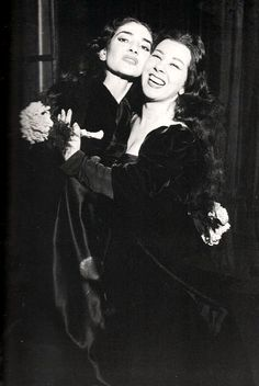"Maria Callas and Giulietta Simionato in a behind the scenes picture after ""Anna Bolena"" (1957)."