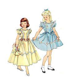 Vintage 1950s Girls Party Dress Pattern by RebeccasVintageSalon
