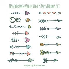 Hand drawn valentines arrows set Free Vector