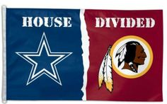 Dallas Cowboys vs Washington Redskins House Divided Football Banner Flag NFL 3X5 #DallasCowboys #Redskins