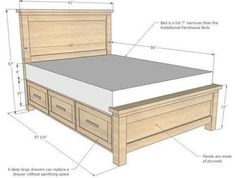 Excellent Cost-Free Farmhouse Bedding with drawers Popular Farmhouse style bedding features a certain feel to it. Light, clean , crisp, neutral and rustic are Diy Bed Frame Plans, Bed Frame Bench, Bed Frame With Storage, Bed Storage, Storage Drawers, Platform Bed With Drawers, Diy Platform Bed, Making A Bed Frame, Farmhouse Style Bedding
