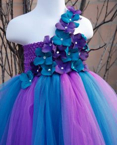 Purple Flower Girl Dresses | Pretty Purple & Teal Baby Girl Flower Girl Tutu Dress