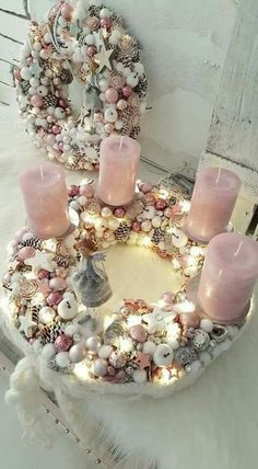 Fantastic Pic advent Wreath Popular There may be thus many things to preoccupy write devotees with Yuletide although unquestionably doin Advent Wreath Candles, Christmas Advent Wreath, Christmas Gift Decorations, Christmas Centerpieces, Pink Christmas, Holiday Wreaths, Christmas Holidays, Christmas Crafts, Lights Before Christmas