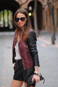 Oxblood & black leather.
