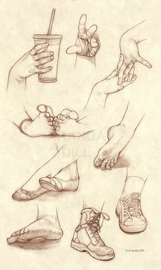 Hands Feet and Shoes by =ArandaDill https://www.facebook.com/CharacterDesignReferences