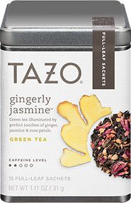 Green tea illuminated by perfect touches of ginger, jasmine & rose petals. Tazo® Tea | Products. Gingerly Jasmine