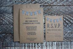 Rustic Vintage Wedding Invitation with Bunting