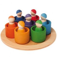 Grimm's 7 Rainbow Wooden Peg Dolls in Bowls