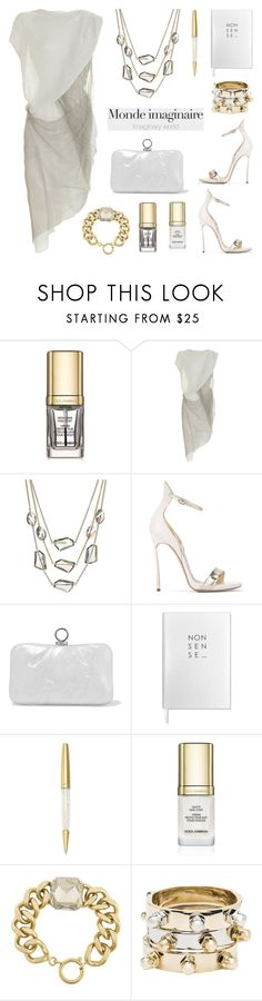 """""""Light Grey and Gold"""" by deepwinter ❤ liked on Polyvore featuring Dolce&Gabbana, Helmut Lang, Kenneth Cole, Casadei, Halston Heritage, Sloane Stationery, Swarovski, Isabel Marant and CC SKYE"""