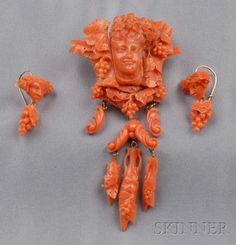 Antique Coral Demi-parure   Sale Number 2510, Lot Number 180   Skinner Auctioneers
