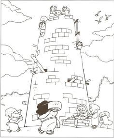 Tower Of Babel Coloring Pages For Kids Page Bible