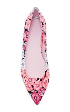 Floral Jacquard Skimmer Flats by GIAMBA Now Available on Moda Operandi