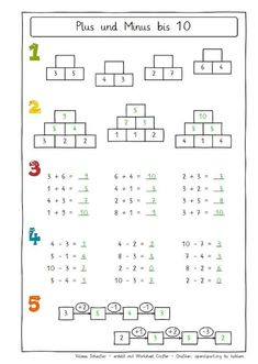 OwlMail - Plus und Minus bis 10 1st Grade Worksheets, Kindergarten Math Worksheets, Tracing Worksheets, 1st Grade Math, Preschool Math, Math Lesson Plans, Math Lessons, Math For Kids, Math Games