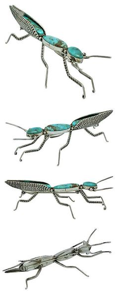 Pins Brooches 98499: Lee Charley, Pin, Praying Mantis, Kingman Turquoise, Sterling Silver, Navajo,3.5 -> BUY IT NOW ONLY: $335 on eBay!