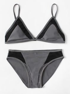 50478657d4 SheIn offers Contrast Panel Triangle Bikini Set   more to fit your  fashionable needs.
